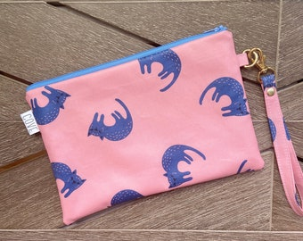 Blue Cat Laminated Cotton Summer Zip Pouch with Wrist Strap