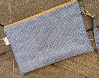 Blue Laminated Cotton Summer Zip Pouch with Wrist Strap