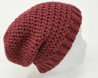 Pink Slouch Beanie, Women's Hat, Slouchy Beanie, Hipster Hat, Pink Lovers Gift, Crocheted Hat, Birthday Gift for Her, Simplistic Beanie