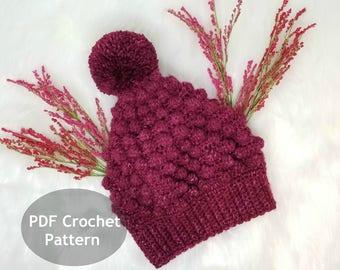 Slouchy Hat Crochet Pattern, PDF Pattern, DIY Pattern, Crochet Tutorial, Winter Crochet Hat, Pom Pom Hat Pattern, Slouchy Beanie Hat