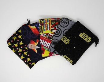 Superhero drawstring dice bag, comic book drawstring pouch, nerdy dice bag, geeky gift bag, drawstring card pouch, nerdy gift, geeky gift