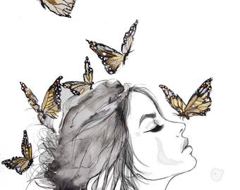 Monarchs print from original watercolor illustration by Kristen Baker