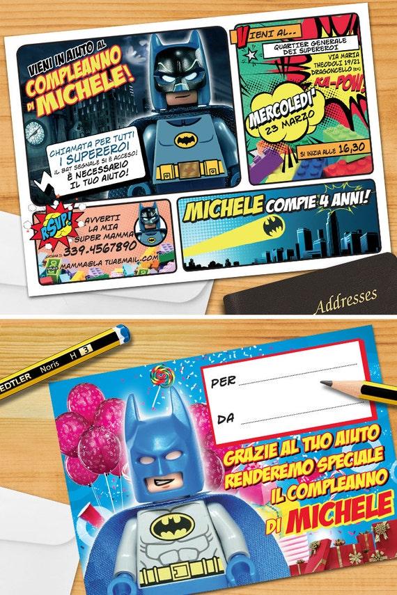 Batman Lego Invito Personalizzato Invito Per Festa Di Etsy