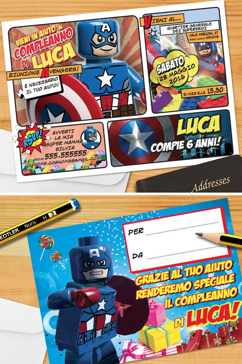 Avengers Invito Personalizzato Capitan America Per Festa Di Etsy