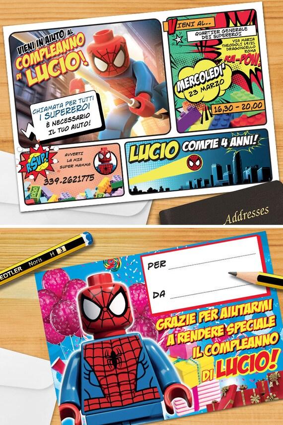 Spiderman Lego Invito Personalizzato Invito Per Festa Di Etsy