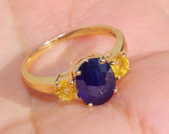 Ceylon sapphire & Citrine Band Ring Gem Quality Gorgeous 14K Gold 1.56 CTW