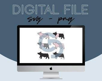 Show Pig Livestock Graphic - Digital File Bundle - 2021.1