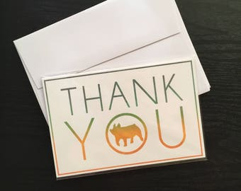 Assorted Show Pig Thank You Cards - 4x6 - Flat QTY 5