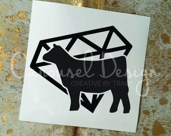 Show Cattle Diamond Heifer Vinyl Sticker