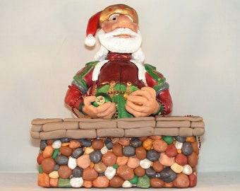 Heirloom Santa Claus Candy Cane box, Christmas Decoration, Handmade of polymer clay
