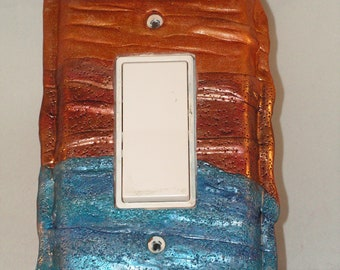 Metallic Blue, Copper and Gold Textured Decorative Light Switch Rocker Cover, Handmade of Polymer clay
