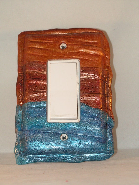 Metallic Blue Copper And Gold Textured Decorative Light Etsy