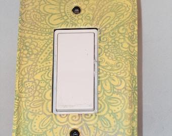 Light Yellow Paisley Silk Screened Design, Decorative Light Switch Rocker Cover, Handmade of Polymer clay