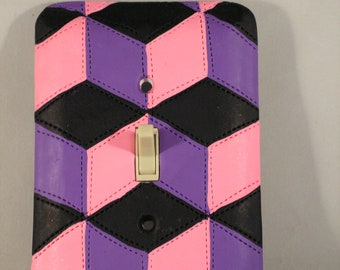 Geometric Patchwork Quilting Pattern Light Switch Toggle Cover, Handmade of Polymer clay