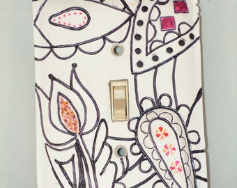 Zentangle Flower Light Switch Toggle Cover, Handmade of Polymer clay
