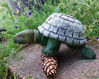Sweetest Decorative Green Turtle, home decor, Handmade of polymer clay