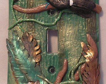 OOAK Toucan the Bird Single Toggle Light Switch Plate, Sculpture Wall Home Decor