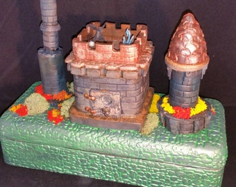 OOAK Dragons Playing Ball Castle Box Tin, Stash, Jewelry, Conceal your precious anything. Polymer clay