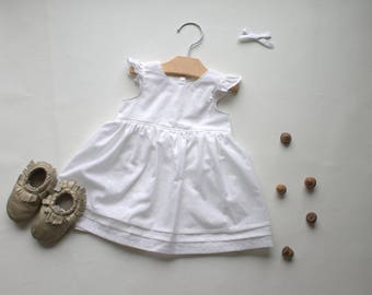 a8395b19ddf6 Infant Dress - Premium Baby Outfit - Cotton Baby Dress - White Baby Dress -  Cotton Flutter Dress-Baby Shower Gift - Made 4U Handmade Designs