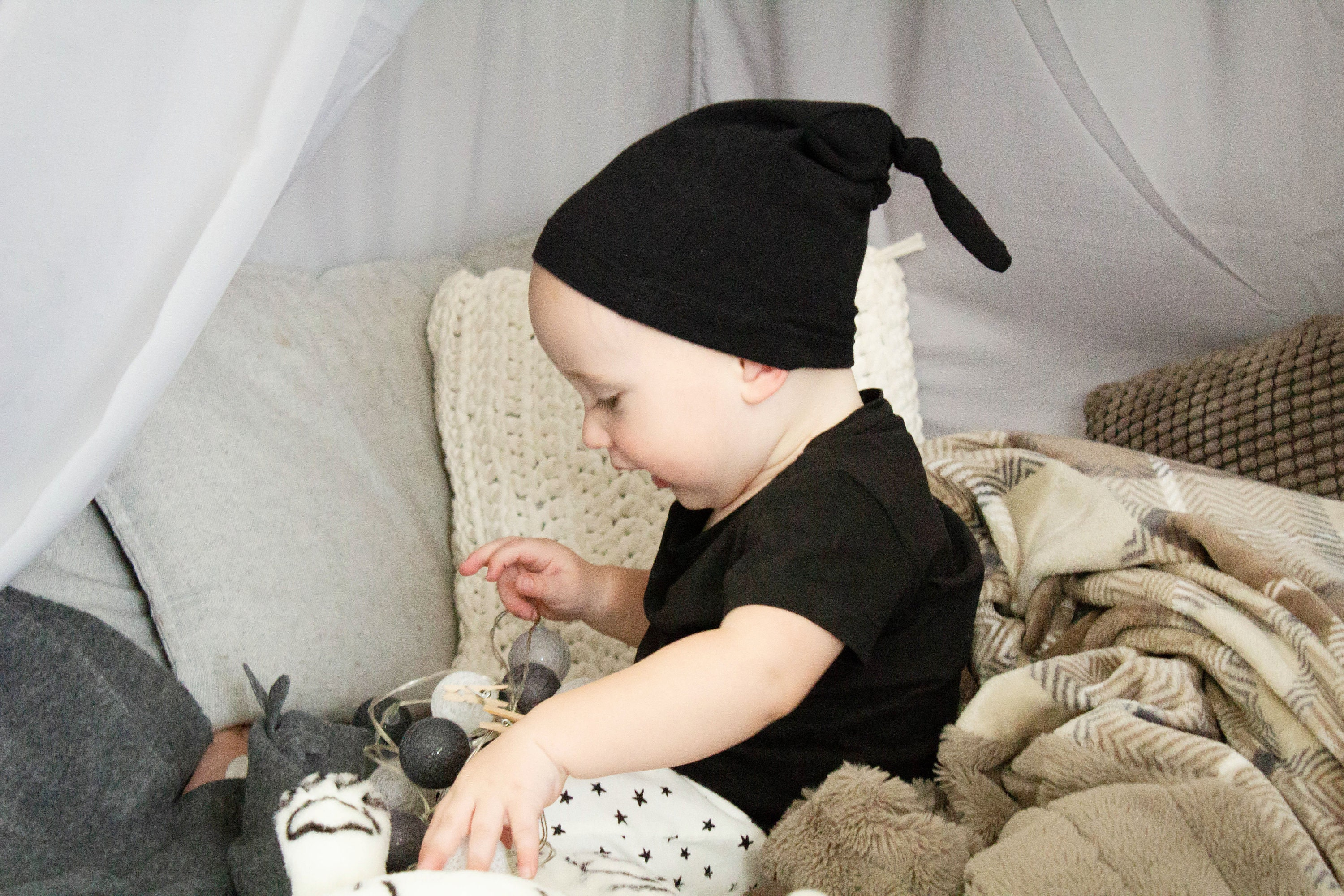 1c492c7d3b7cb Black Knot Hat - Top Knot Hat - Newborn Photo Prop - Toddler Hat ...