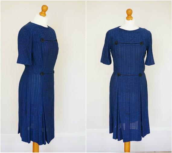 1960s 60s Vintage Marjorie Montgomery Blue Linen S