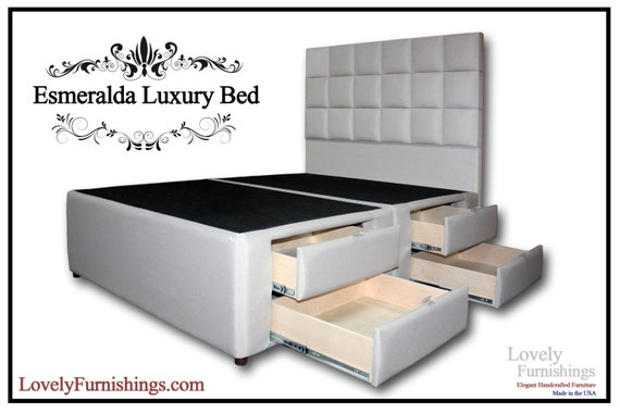 Queen Bed Frame Handcrafted Upholstered, Queen Storage Bed With 4 Drawers