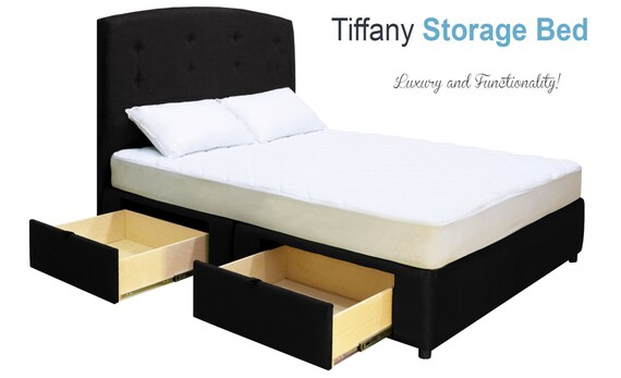 Tiffany Stockage Plateforme Lit Pleine Grandeur W 2 Tiroirs Etsy