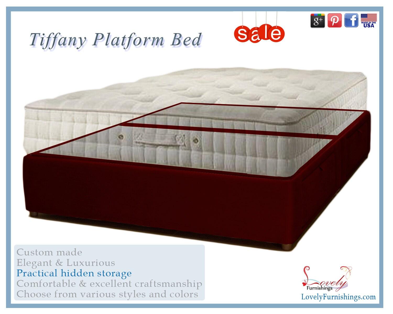 Plataforma tapizado elegante cama del almacenaje con debajo de   Etsy