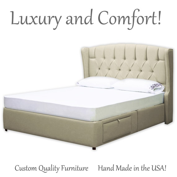 Bed Frame Queen King, Upholstered Queen Platform Bed With Storage