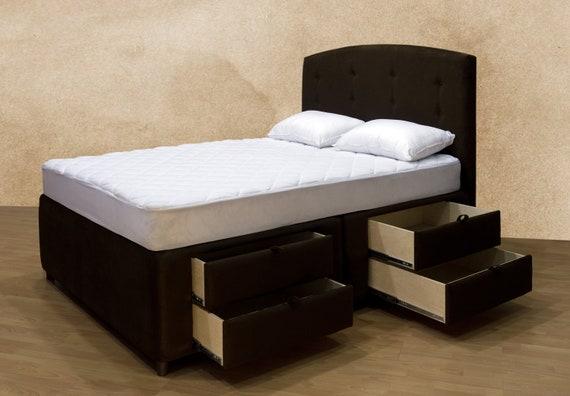 Elegant Upholstered Platform Storage Bed With Underneath Etsy