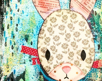 "6"" x 6"" Mixed Media Bunny Canvas"