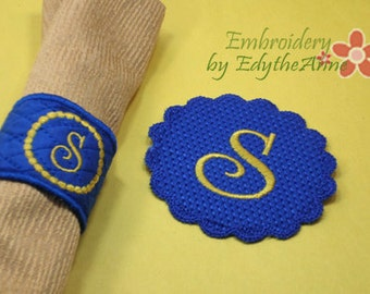 MONOGRAM NAPKIN RINGS -  Two Sets of 26 each  In The Hoop Embroidery Designs Digital File. Available immediately.