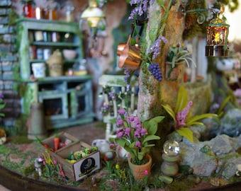 Miniature Faerie House  (Enchanted Bunny Hollow) Fairy Dollhouse Art Piece 1:12 Scale Collectable