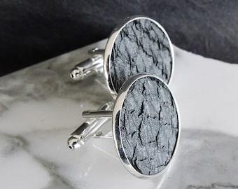 Festive wedding cuff links, metallic grey salmon leather cuff links, engagement cuff links,