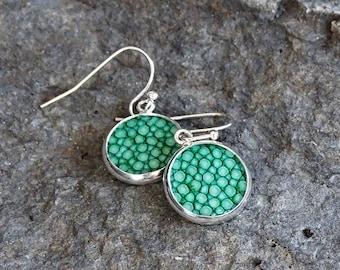 Greenery stingray leather earrings, dangle earrings, emerald green stingray leather.greenery trend 2017