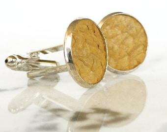 Metallic yellow salmon leather cuff links, stylish men's cufflinks, engagement cuff links, wedding cuff links, fish leather jewelry