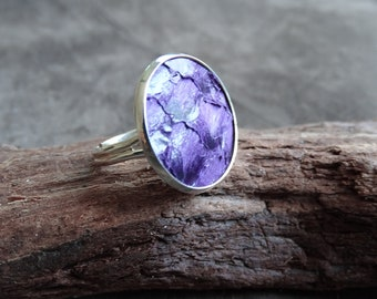 Vibrant lilac ring, fish leather ring, purple cocktail ring, statement ring, tilapia leather ring, silver ring, genuine fish leather ring