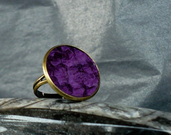Ultra violet fish leather ring, lilac tilapia leather, purple fish skin, cocktail ring, statement ring