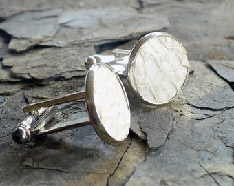 Winter white salmon leather cuff links