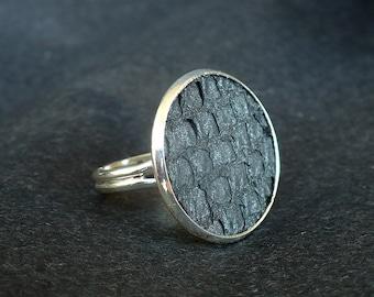 Metallic grey salmon leather ring, organic salmon leather ring, fish skin ring, silver ring