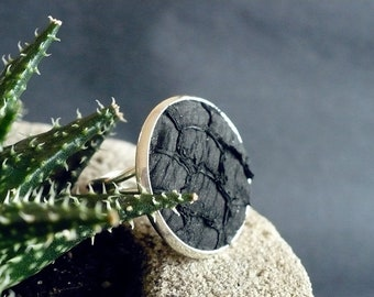 Black fish leather ring, tilapia leather ring, gift for her, Valentine, Mother's Day, birthday, girlfriend gift, best friend gift