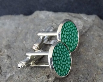 Cuff links for men with style, emerald green stingray leather cuff links, Art deco glam wedding