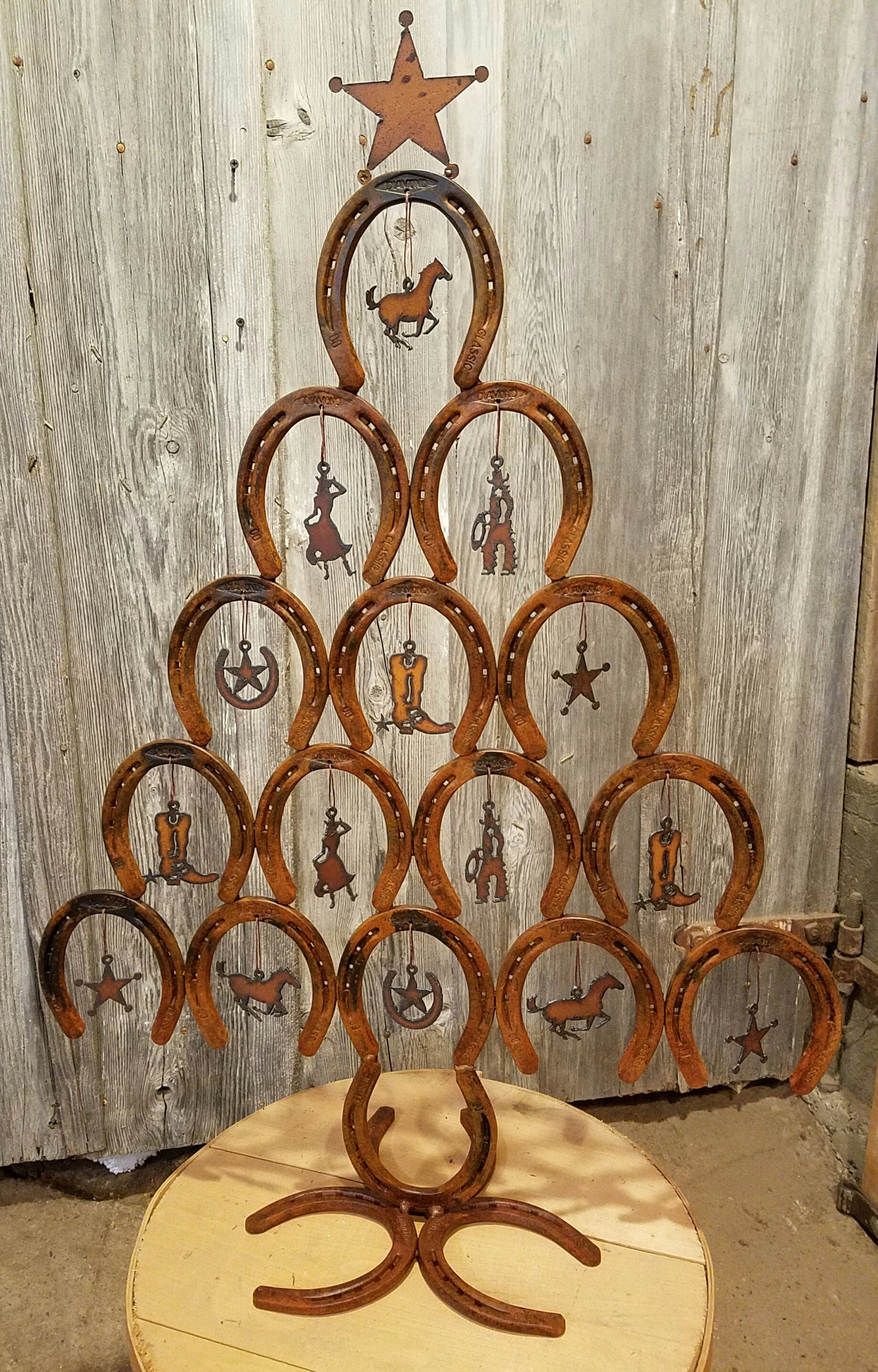 Rustic Horseshoe Christmas Tree WITH ornaments Rustic | Etsy
