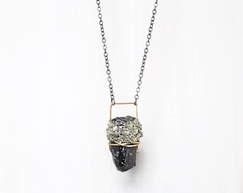 CRYSTAL + CRUSHED PYRITE || natural crystal wire wrapped pendant necklace