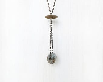 ANCIENT STONE BEAD || statement pendant necklace