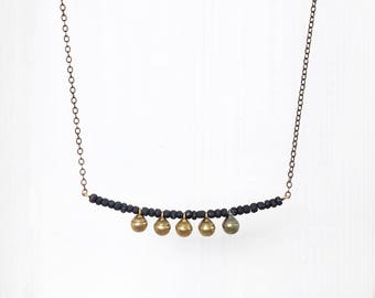 BLACK BEADS + BELLS || necklace