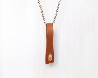 LEATHER + CRYSTAL LOOP || quartz shard on reclaimed leather loop pendant necklace