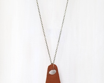 LEATHER + CRYSTAL || quartz shard on reclaimed leather pendant necklace