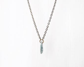 KYANITE CHIP  + BRASS || delicate pale blue stone pendant necklace