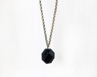 FACETED BLACK ONYX || gemstone pendant necklace